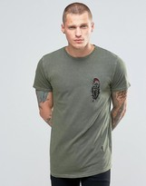 Religion T-Shirt in Oil Wash With Feather Embroidary Detail