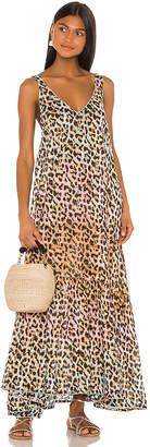 Juliet Dunn Tie Dye Leopard Print Maxi Dress