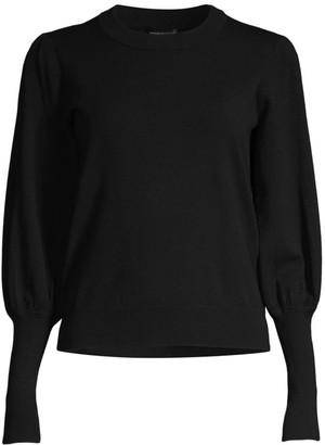 Minnie Rose Crewneck Puff-Sleeve Sweater