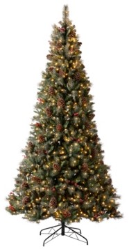 Glitzhome Pre-Lit Green Pine Artificial Christmas Tree with 1000 Warm Lights