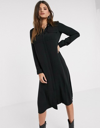 Vero Moda maxi shirt dress with diamante button in black