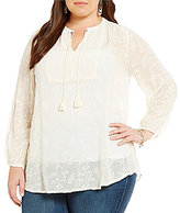 Lucky Brand Plus V-Neck 3/4 Sleeve Solid Embroidered Top