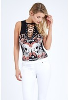 Select Fashion Fashion Skull And Roses Lace Up Rock Bodysuit Tops - size 14