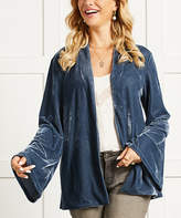 Suzanne Betro Women's Non-Denim Casual Jackets 101INDIGO - Indigo Velvet Wide-Sleeve Shawl-Collar Jacket - Women
