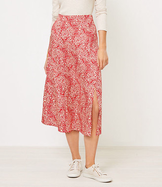 LOFT Petite Animal Spotted Midi Skirt