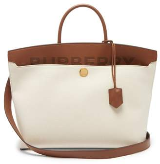 Burberry Society Canvas And Leather Tote Bag - Womens - Cream Multi