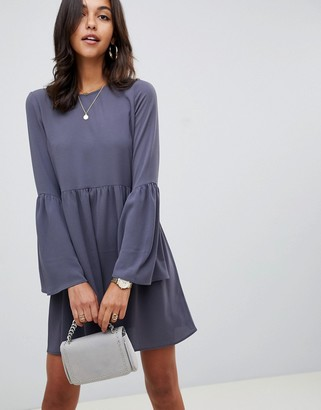 Asos Design DESIGN fluted sleeve smock mini dress