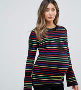 Asos Sweater with Rainbow Stripe and Fluted Sleeve