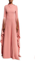 Prabal Gurung Cowl-Back Fan-Sleeve Gown, Pink