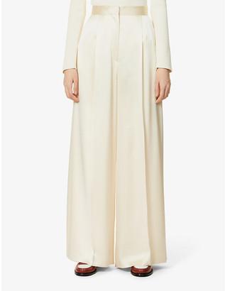 Loewe Wide-leg high-rise crepe-satin trousers