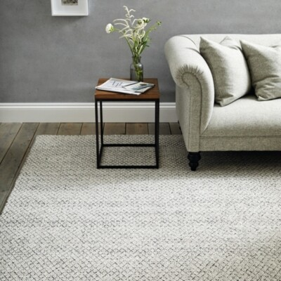 The White Company Henley Monochrome Medium Rug, White/Black, Medium