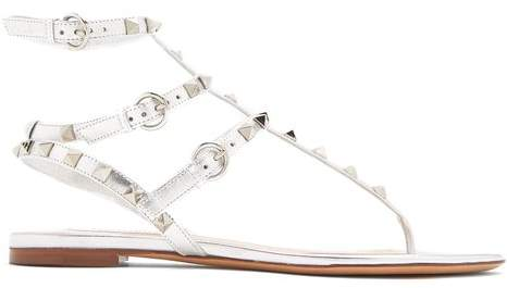 Valentino Rockstud Flat Leather Sandals - Womens - Silver