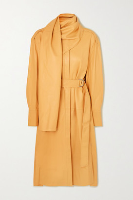 Proenza Schouler Belted Draped Leather Midi Dress - Sand