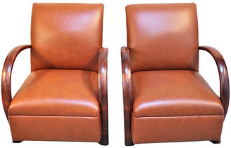 One Kings Lane Vintage French Loop Armchairs in Leather - Pr - Schorr & Dobinsky