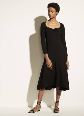 Vince Ruched Long Sleeve Dress