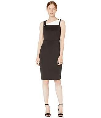 Calvin Klein Fold-Over Neck Sheath Dress (Black/Cream) Women's Dress
