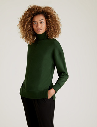 Marks and Spencer Cotton Funnel Neck Long Sleeve Sweatshirt