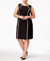 Kasper Plus Size Contrast-Trim Sheath Dress