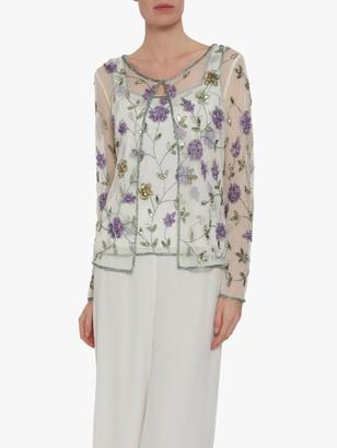 Gina Bacconi Lana Embellished Floral Top, Green/Purple