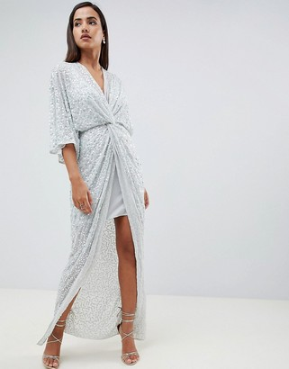 Asos Design DESIGN scatter sequin knot front kimono maxi dress-Green