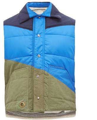 Greg Lauren Panelled Quilted Shell Gilet - Mens - Blue Multi