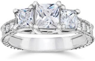 Pompeii3 14k White Gold 2 ct TDW Vintage Three Stone Princess Cut Diamond Engagement Ring