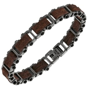 Sutton by Rhona Sutton Sutton Stainless Steel Gunmetal And Brown Leather Link Bracelet
