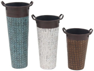 Willow Row Multi Traditional Woven Iron Flower Pot - Set of 3
