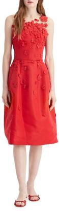 Oscar de la Renta Illusion Floral-Applique Silk Cocktail Dress