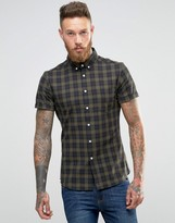 Asos Skinny Shirt With Grid Check In Green With Short Sleeves