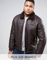 Barney's Originals Barneys PLUS Faux Leather Bomber With Fleece Collar Jacket