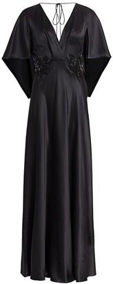 Alberta Ferretti Emellished Silk Flutter-Sleeve Gown