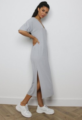Missguided Gray Rib Oversized Midi T Shirt Dress
