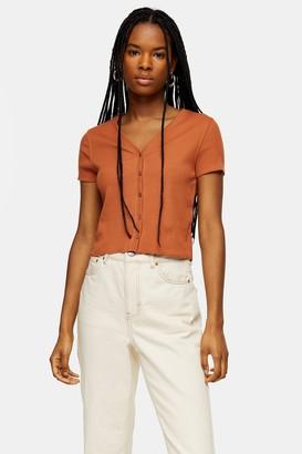 Topshop Womens Rust Short Sleeve Button Cardigan - Rust