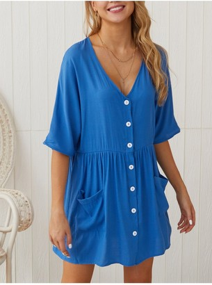 FS Collection Button Front V Neck Mini Dress Blue