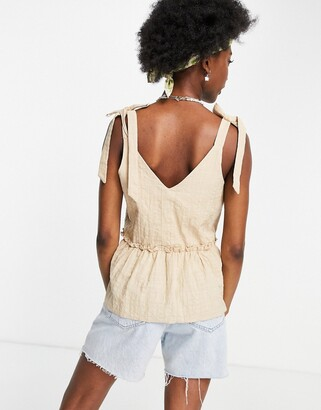 New Look textured v neck tie strap cami in neutral stone