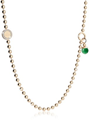 Rebecca Boulevard Stone Yellow Gold Over Bronze Necklace w/Double Charms