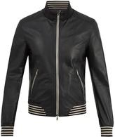 Dolce & Gabbana Zip-through striped-trim leather jacket