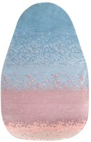 "HARTÃ"" Pink and Blue Layered Wool Aube Rug"
