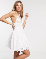 Asos Design DESIGN broderie sweetheart mini sundress with lace trim in white