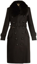 Burberry Fur-trimmed belted wool-blend coat