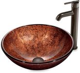 Bed Bath & Beyond VIGO Mahogany Moon Tempered Glass Vessel Sink with Faucet