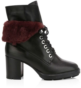 Aquatalia Idris Faux Fur-Trimmed Leather Combat Boots