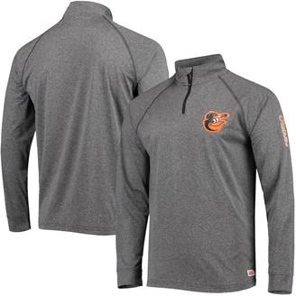 Stitches Men's Heathered Gray Baltimore Orioles Two-Hit Quarter-Zip Raglan Pullover Jacket