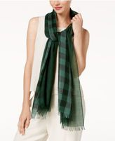 Eileen Fisher Wool Check-Print Wool Scarf