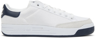 adidas White and Navy Rod Laver Sneakers