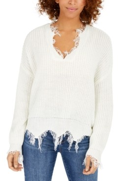 Polly & Esther Juniors' Destructed V-Neck Sweater