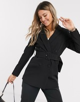 New Look belted blazer in black co ord