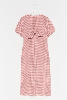 Nasty Gal Womens Checks All the Boxes Tie Midi Dress - Pink - S, Pink