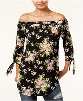 Miss Chievous Juniors' Floral-Print Off-The-Shoulder Top